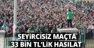 Seyircisiz maçta 33 bin TL'lik hasılat