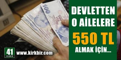 Ailelere 550 lira