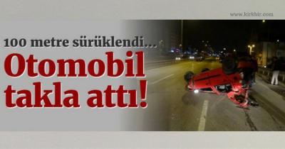 DERİNCE'DE OTOMOBİL GECE 03:00'TE TAKLA ATTI 1 YARALI