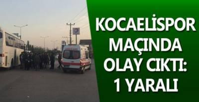 Kocaelispor maçında olay  çıktı: 1 yaralı
