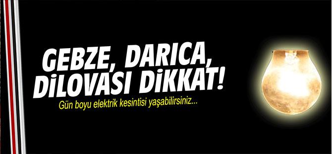 GEBZE, DİLOVASI, DARICA'DA ELEKTRİK KESİNTİSİ